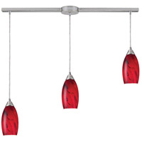 ELK 20001/3L-RG Galaxy 3 Light 5 inch Satin Nickel Mini Pendant Ceiling Light in Red Galaxy Glass, Incandescent, Linear with Recessed Adapter, Linear