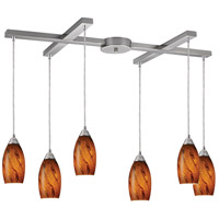 Galaxy 6 Light 33 inch Satin Nickel Pendant Ceiling Light in Brown Glass