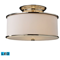 Lureau LED 15 inch Polished Nickel Semi-Flush Mount Ceiling Light