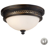 Signature 2 Light 13 inch Deep Rust Flush Mount Ceiling Light in Recessed Adapter Kit