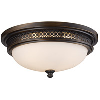 Signature 3 Light 16 inch Deep Rust Flush Mount Ceiling Light