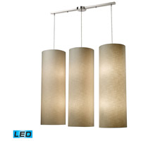 Fabric Cylinders LED 43 inch Satin Nickel Pendant Ceiling Light