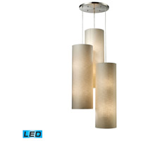 Fabric Cylinders LED 28 inch Satin Nickel Pendant Ceiling Light