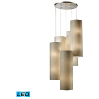 ELK 20160/20R-LED Fabric Cylinders LED 33 inch Satin Nickel Chandelier Ceiling Light in Round Canopy, 20