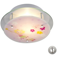 Novelty 2 Light 13 inch Satin Nickel Semi Flush Mount Ceiling Light in Recessed Adapter Kit, Magic Wand and Floral Motif
