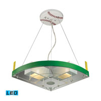 ELK Lighting Novelty 2 Light LED Pendant in White/Green and Baseball Field Theme 21013/2-LED