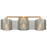 Compartir 3 Light 26 inch Satin Brass with Polished Nickel Vanity Light Wall Light