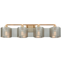 Compartir 4 Light 35 inch Satin Brass with Polished Nickel Vanity Light Wall Light