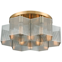 Compartir 7 Light 19 inch Satin Brass with Polished Nickel Semi Flush Mount Ceiling Light