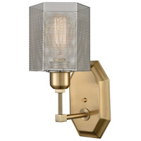 Compartir 1 Light 5 inch Polished Nickel with Satin Brass Wall Sconce Wall Light