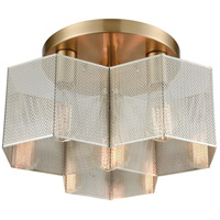 Compartir 3 Light 15 inch Polished Nickel with Satin Brass Semi Flush Mount Ceiling Light