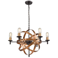 ELK 21136/6 Kingston 6 Light 27 inch Oil Rubbed Bronze with Brushed Antique Brass Chandelier Ceiling Light
