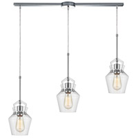 ELK 21161/3L Caliper 3 Light 36 inch Polished Chrome Pendant Ceiling Light in Linear with Recessed Adapter