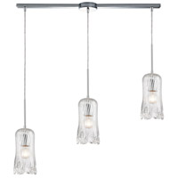 ELK 21165/3L Hand Formed Glass 3 Light 36 inch Polished Chrome Pendant Ceiling Light in Linear with Recessed Adapter