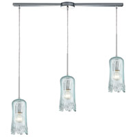 ELK 21166/3L Hand Formed Glass 3 Light 36 inch Polished Chrome Pendant Ceiling Light in Linear with Recessed Adapter