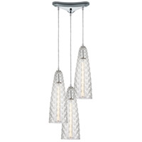 ELK 21167/3 Glitzy 3 Light 12 inch Polished Chrome Pendant Ceiling Light in Triangular Canopy