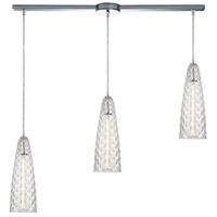 ELK 21167/3L Glitzy 3 Light 36 inch Polished Chrome Pendant Ceiling Light in Linear with Recessed Adapter