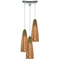 ELK 21168/3 Glitzy 3 Light 12 inch Polished Chrome Pendant Ceiling Light in Triangular Canopy