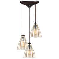 ELK 21182/3 Matilda 3 Light 12 inch Oil Rubbed Bronze Pendant Ceiling Light in Triangular Canopy