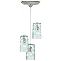 Diamond Pleat 3 Light 12 inch Satin Nickel Pendant Ceiling Light