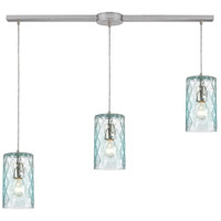 ELK 21194/3L Diamond Pleat 3 Light 36 inch Satin Nickel Pendant Ceiling Light in Linear with Recessed Adapter