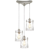 ELK 21200/3 Hand Formed Glass 3 Light 12 inch Satin Nickel Pendant Ceiling Light in Triangular Canopy
