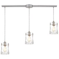 ELK 21200/3L Hand Formed Glass 3 Light 36 inch Satin Nickel Pendant Ceiling Light in Linear with Recessed Adapter