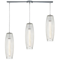 ELK 21210/3L Satin Veil 3 Light 36 inch Polished Chrome Pendant Ceiling Light in Linear with Recessed Adapter