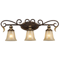 Regency 3 Light 30 inch Burnt Bronze And Gold Leaf Vanity Wall Light in Standard