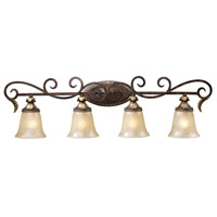 Regency 4 Light 39 inch Burnt Bronze And Gold Leaf Vanity Wall Light in Standard