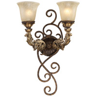 Regency 2 Light 6 inch Burnt Bronze And Gold Leaf Wall Sconce Wall Light in Standard