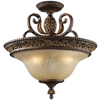 Regency 3 Light 19 inch Burnt Bronze And Gold Leaf Semi Flush Mount Ceiling Light