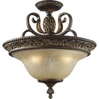 ELK 2157/3 Regency 3 Light 19 inch Burnt Bronze Semi Flush Mount Ceiling Light
