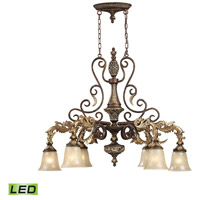 ELK 2161/6-LED Regency LED 39 inch Burnt Bronze And Gold Leaf Island Ceiling Light
