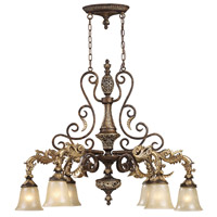 Regency 6 Light 39 inch Burnt Bronze And Gold Leaf Island Ceiling Light in Standard