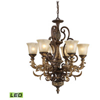 Regency LED 28 inch Burnt Bronze And Gold Leaf Chandelier Ceiling Light