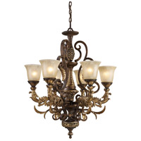 Regency 6 Light 28 inch Burnt Bronze And Gold Leaf Chandelier Ceiling Light in Standard