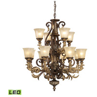 ELK Lighting Trump Home Westchester Regency 12 Light LED Chandelier in Burnt Bronze 2165/8+4-LED