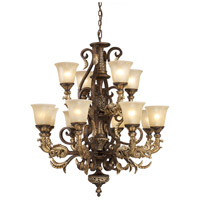 Regency 12 Light 35 inch Burnt Bronze And Gold Leaf Chandelier Ceiling Light in Standard