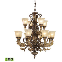 Regency LED 35 inch Burnt Bronze And Gold Leaf Chandelier Ceiling Light