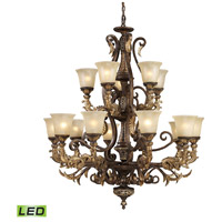 Regency LED 41 inch Burnt Bronze And Gold Leaf Chandelier Ceiling Light