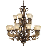 Regency 15 Light 41 inch Burnt Bronze And Gold Leaf Chandelier Ceiling Light in Standard