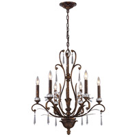 Emilion 6 Light 23 inch Burnt Bronze Chandelier Ceiling Light