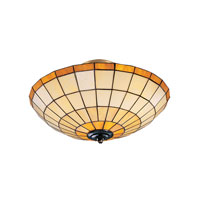 Diamond 3 Light 8 inch Tiffany Bronze Flush Mount Ceiling Light