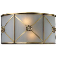 Preston 2 Light 12 inch Brushed Brass Sconce Wall Light