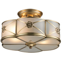 Preston 2 Light 14 inch Brushed Brass Semi Flush Ceiling Light