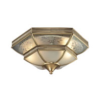 French Damask 2 Light 14 inch Brushed Brass Flush Mount Ceiling Light