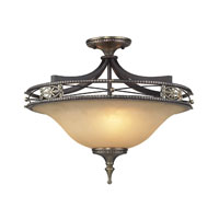 ELK Lighting Georgian Court 3 Light Semi Flush in Antique Bronze and Dark Umber 2425/3