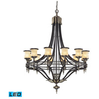 ELK 2434/12-LED Georgian Court LED 48 inch Antique Bronze with Dark Umber Chandelier Ceiling Light