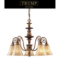 ELK Lighting Trump Home Westchester Bedminster 5 Light Chandelier in Burnt Gold Leaf 2463/5